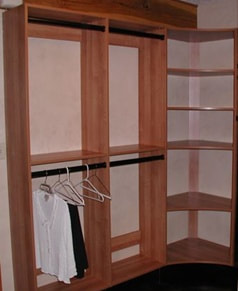 Laminate Closet with corner shelf and double hang