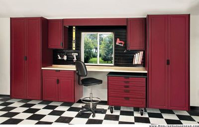 RedLine Garage System Storage Cabinets with Counter Top and Slat Wall with hanging options